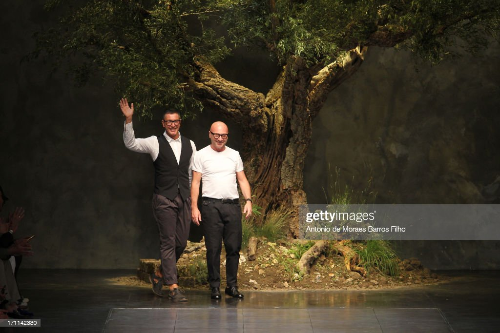 Domenico Dolce, Stefano Gabbana walk the runway during the Dolce & Gabbana show as a part of MFW S/S 2014 on June 22, 2013 in Milan, Italy.