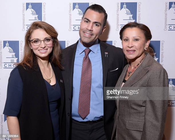 Domenika Lynch President and CEO of the Congressional Hispanic Caucus Institute actor JW Cortes and Congresswoman Nydia Velazquez attend the...