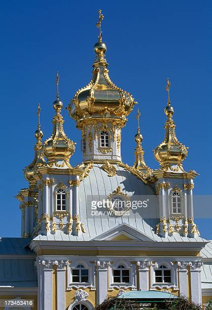 Domes of the chapel in the east wing of the Grand Palace design by the architect Bartolomeo Francesco Rastrelli Peterhof near St Petersburg Russia