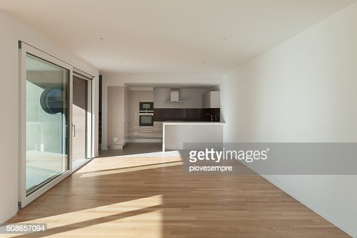domestic kitchen in large room : Stock Photo