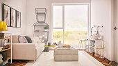 Modern scandinavian-like living room. Render image.
