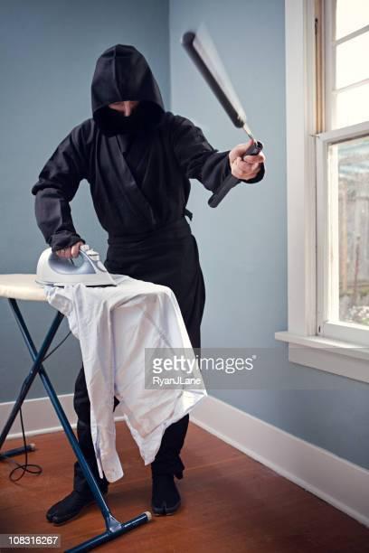 Domestic Ninja Ironing With Nunchaku