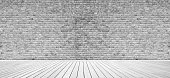 Domestic room white brick wall.