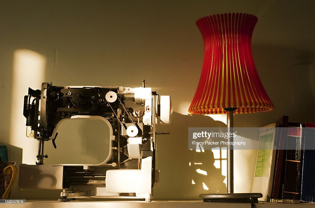 Domestic shelf with lamp and books : Stock Photo