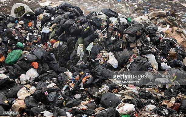 Domestic waste piles up at the Shelford Landfill Recycling Composting Centre on August 23 2007 near Canterbury England The Shelford landfill site run...