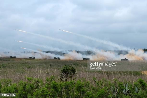 Domestically produced RT2000 rockets are launched during the 'Han Kuang' lifefire drill some 7 kms from the city of Magong on the outlying Penghu...