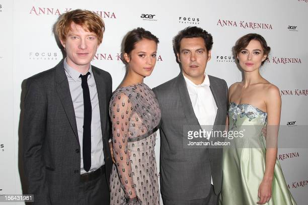 Domhnall Gleeson Alicia Vikander Joe Wright and Keira Knightley attend the 'Anna Karenina' Los Angeles Premiere at ArcLight Hollywood on November 14...