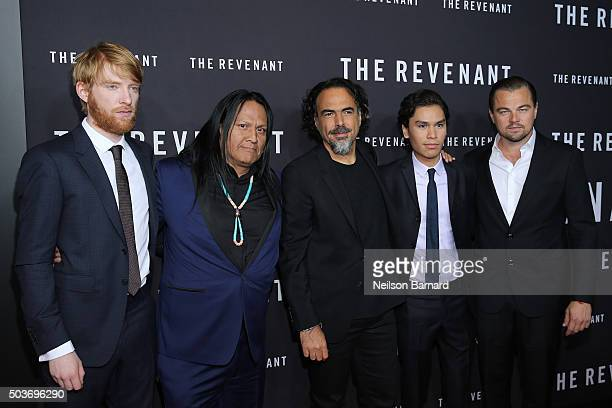 Domhnall Gleeson Arthur RedCloud Alejandro Gonzalez Inarritu Forrest Goodluck and Leonardo DiCaprio attend the New York special screening of 'The...
