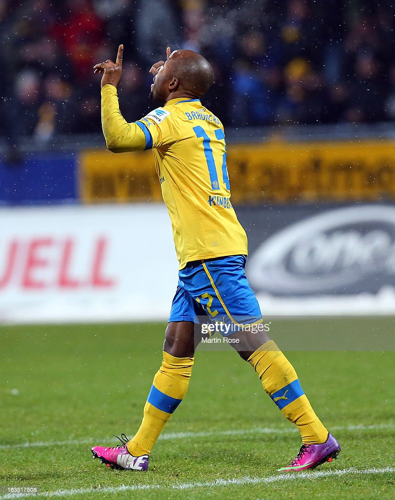 Domi Kumbela of Braunschweig celebrates after he scores his team's equalizing goal during the second Bundesliga match between Eintracht Braunschweig and 1. FC Kaiserslautern at Eintracht Stadium on March 11, 2013 in Braunschweig, Germany.