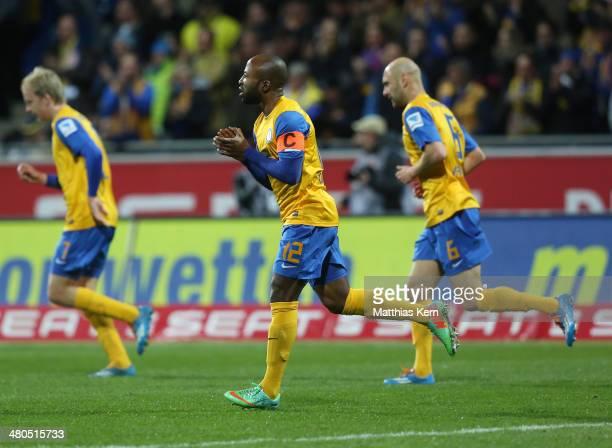 Domi Kumbela of Braunschweig celebrates after scoring the first goal during the Bundesliga match between Eintracht Braunschweig and 1 FSV Mainz 05 at...