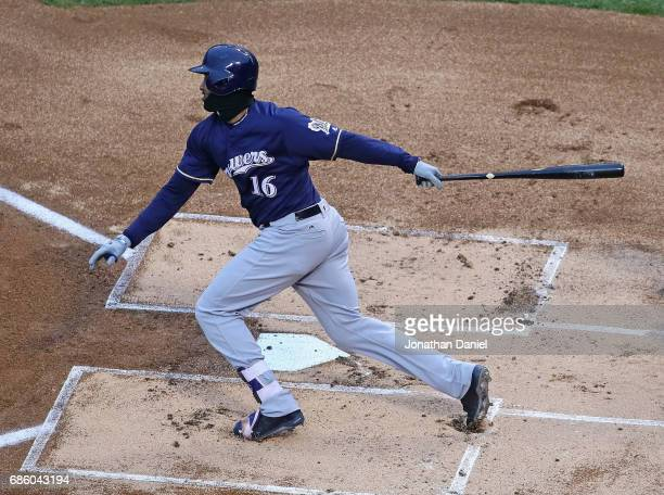 Domingo Santana of the Milwaukee Brewers bats against the Chicago Cubs at Wrigley Field on May 19 2017 in Chicago Illinois The Brewers defeated the...