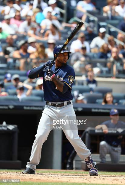 Domingo Santana of the Milwaukee Brewers bats against the New York Yankees during their game at Yankee Stadium on July 8 2017 in the Bronx borough of...