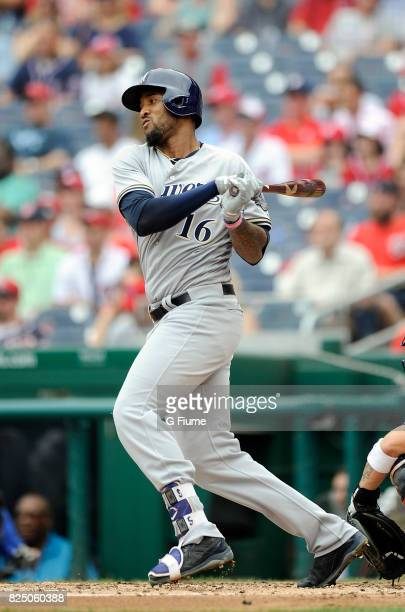 Domingo Santana of the Milwaukee Brewers bats against the Washington Nationals at Nationals Park on July 27 2017 in Washington DC