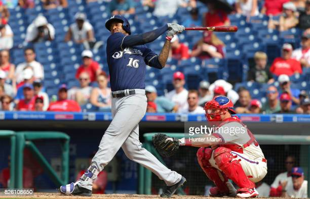 Domingo Santana of the Milwaukee Brewers during a game against the Philadelphia Phillies at Citizens Bank Park on July 23 2017 in Philadelphia...
