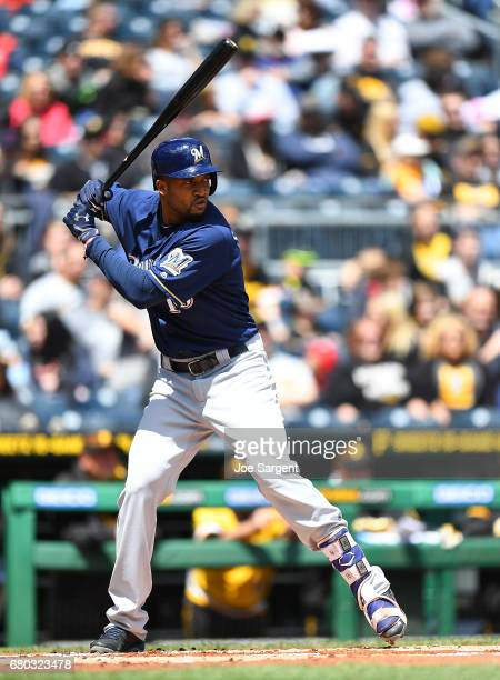 Domingo Santana of the Milwaukee Brewers in action during the game against the Pittsburgh Pirates at PNC Park on May 7 2017 in Pittsburgh Pennsylvania