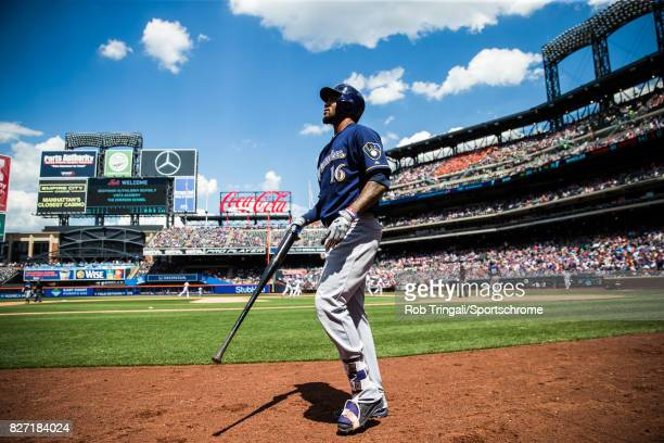 Domingo Santana of the Milwaukee Brewers looks on during the game against the New York Mets at Citi Field on June 1 2017 in the Queens borough of New...