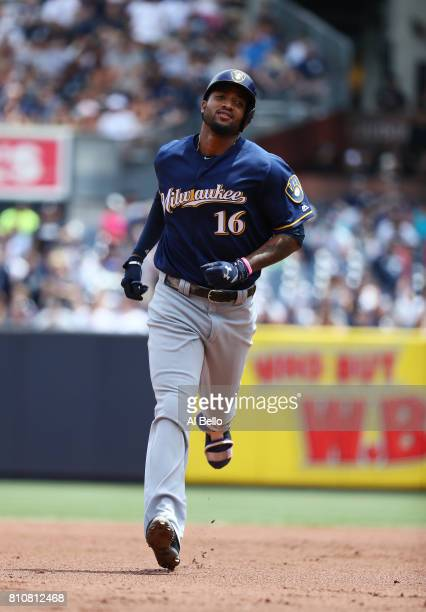 Domingo Santana of the Milwaukee Brewers rounds the bases after hitting a three run home run against the New York Yankees in the first inning during...