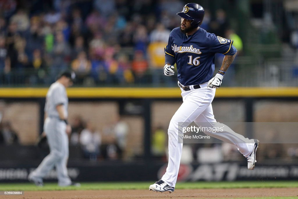 Domingo Santana #16 of the Milwaukee Brewers runs the bases after hitting a solo home run in the first inning against the Miami Marlins at Miller Park on May 01, 2016 in Milwaukee, Wisconsin.
