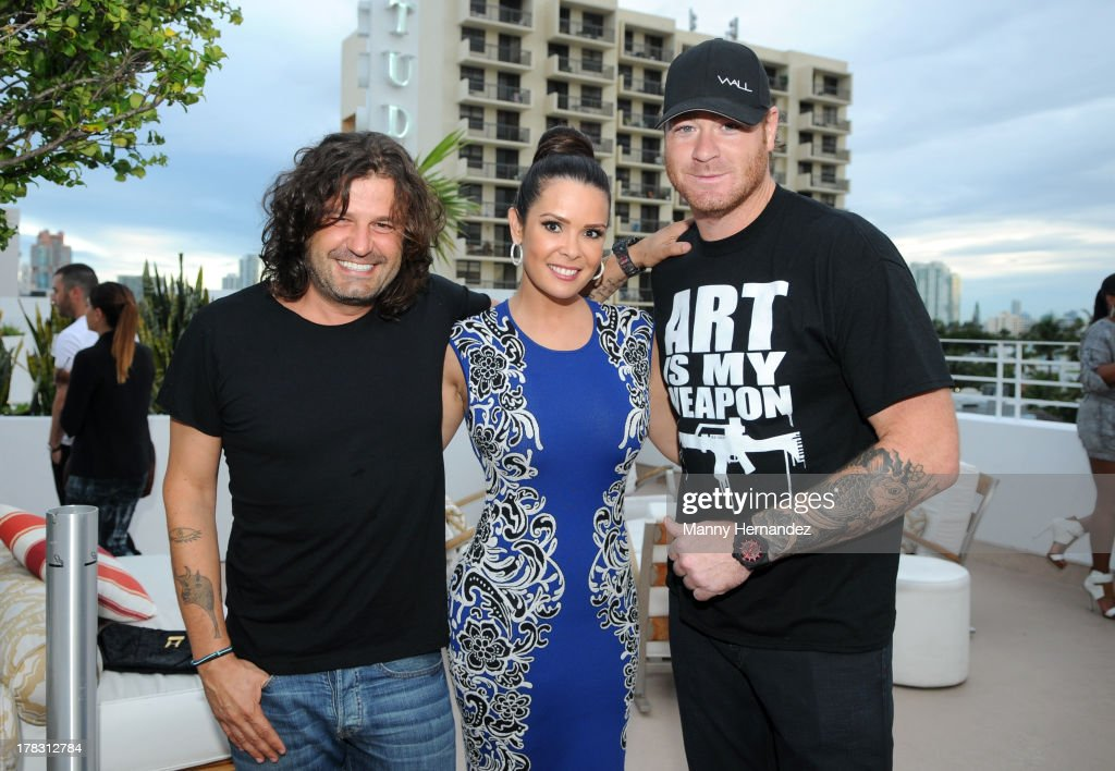 Domingo Zapata, Karent Sierra and Jeremy Shockey attend the CIROC Amaretto Launch Event at Dream Hotel South Beach on August 27, 2013 in Miami, Florida.