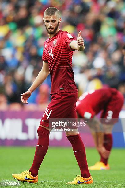 Domingos Duarte of Portugal acknowledges his team during the FIFA U20 World Cup New Zealand 2015 quarter final match between Brazil and Portugal held...