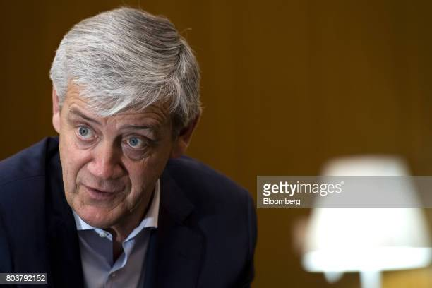 Domingos Soares de Oliveira chief executive officer of Sport Lisboa e Benfica SAD Plc speaks during an interview at the Luz stadium in Lisbon...