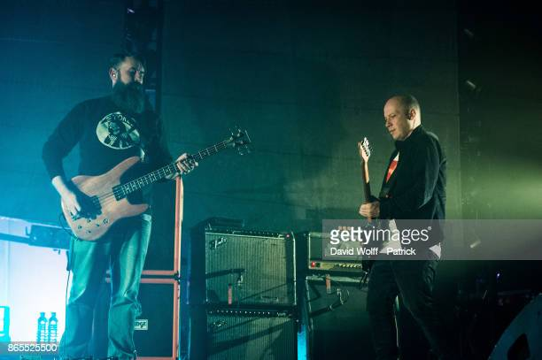 Dominic Aitchison and Stuart Braithwaite from Mogwai perform at Le Grand Rex on October 23 2017 in Paris France