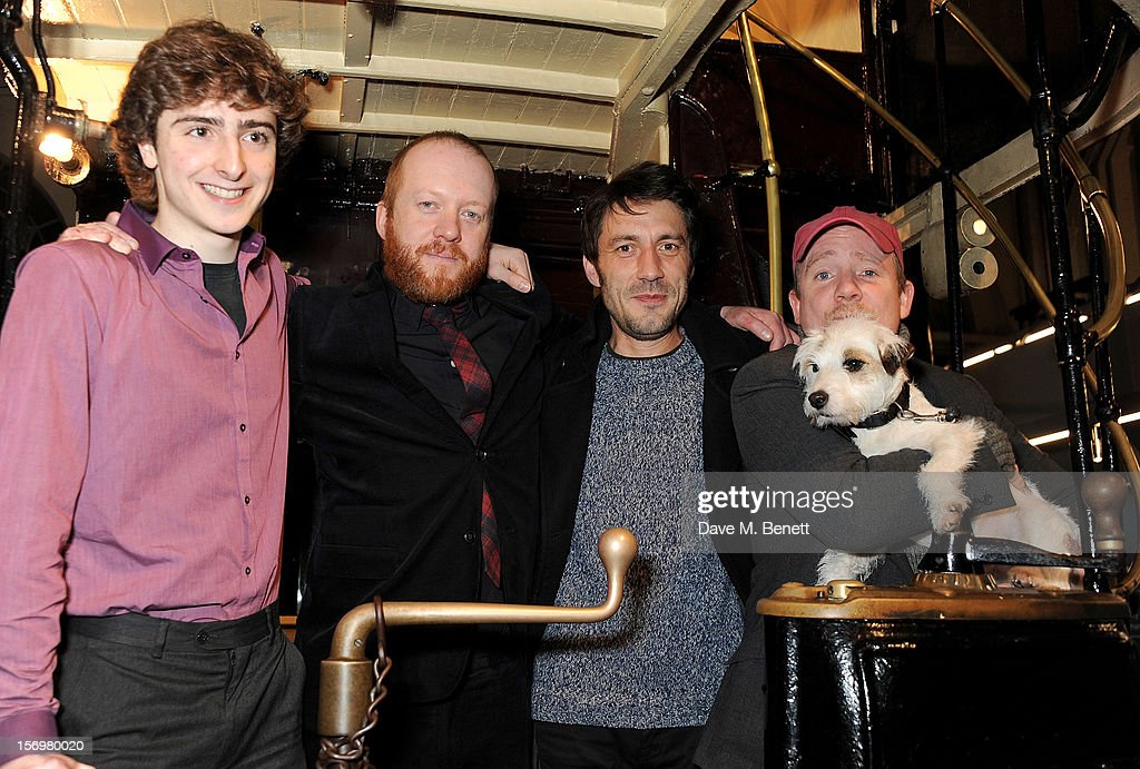 Dominic Applewhite, Steve Oram, Tom Meeten and Richard Glover attend the UK Premiere of 'Sightseers' in association with Stella Artois at the London Transport Museum on November 26, 2012 in London, England.