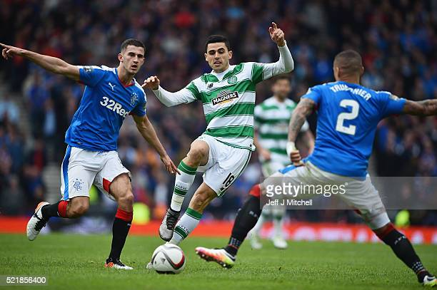 Dominic Ball and James Tavernier of Rangers close down Tomas Rogic of Celtic during the William Hill Scottish Cup semi final between Rangers and...