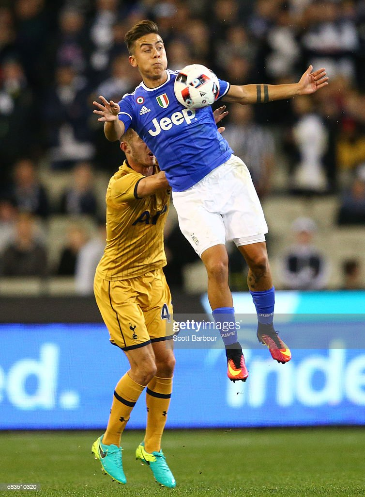 Dominic Ball of Tottenham Hotspur and Paulo Dybala of Juventus FC compete for the ball during the 2016 International Champions Cup match between...