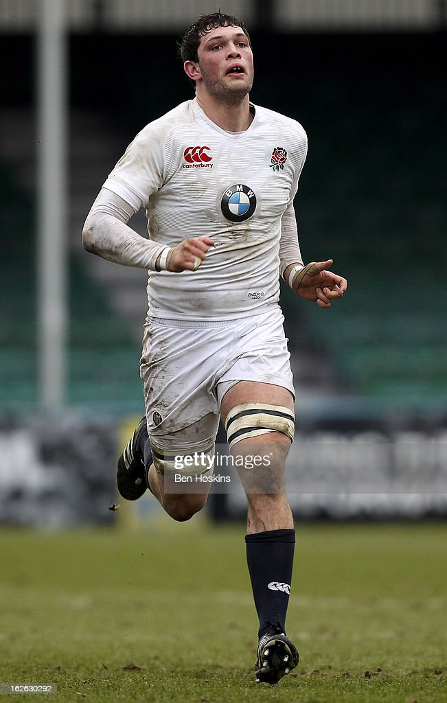 Dominic Barrow of England in action during the U20s RBS Six Nations match between England U20 and France U20 at the Sixways Stadium on February 23, 2013 in Worcester, England.