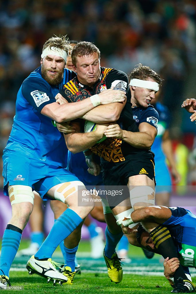 Dominic Bird of the Chiefs is tackled during the round seven Super Rugby match between the Chiefs and the Blues on April 8, 2016 in Hamilton, New Zealand.