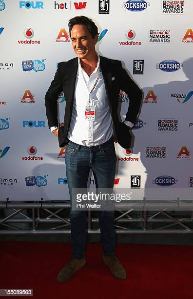 Dominic Bowden arrives for the 2012 Vodafone New Zealand Music Awards at Vector Arena on November 1 2012 in Auckland New Zealand