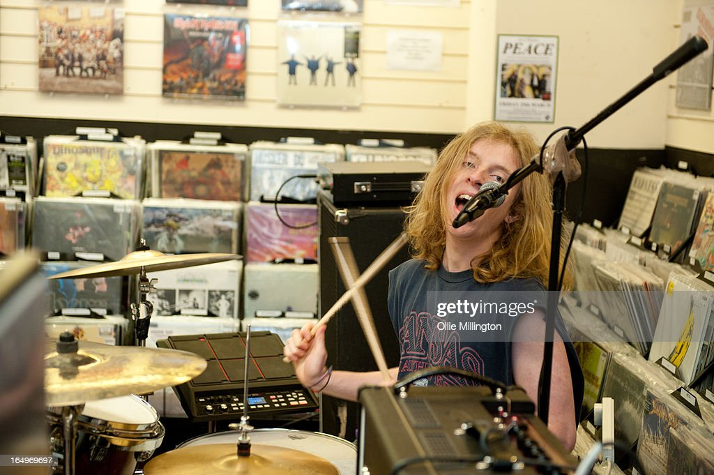 Dominic Boyce of Peace performs at their instore gig at Head Records to promote the release of their debut album 'In Love' on March 29, 2013 in Leamington Spa, England.