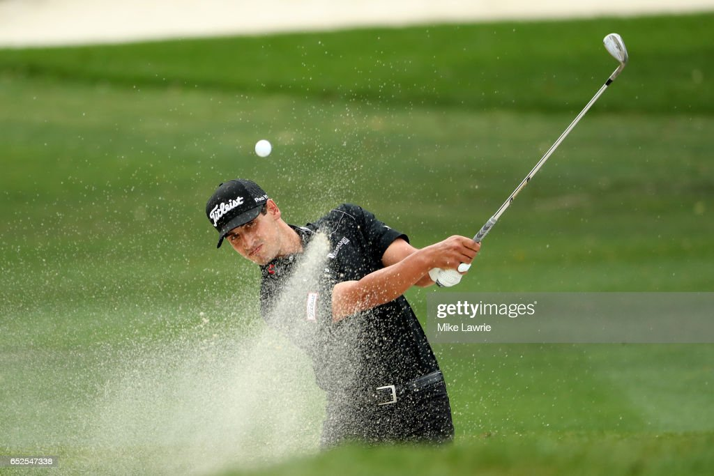 Dominic Bozzelli hits out of a bunker on the first hole during the final round of the Valspar Championship at Innisbrook Resort Copperhead Course on March 12, 2017 in Palm Harbor, Florida.