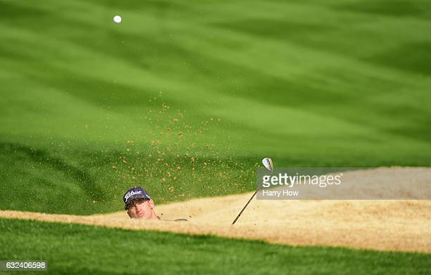 Dominic Bozzelli plays his shot out of the bunker on the eighth hole during the final round of the CareerBuilder Challenge in partnership with The...