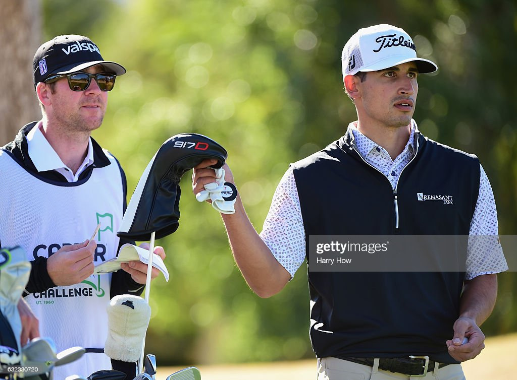 Dominic Bozzelli prepares to tee off on the fifth hole during the third round of the CareerBuilder Challenge in Partnership with The Clinton Foundation at the Jack Nicklaus Tournament Course at PGA West on January 21, 2017 in La Quinta, California.