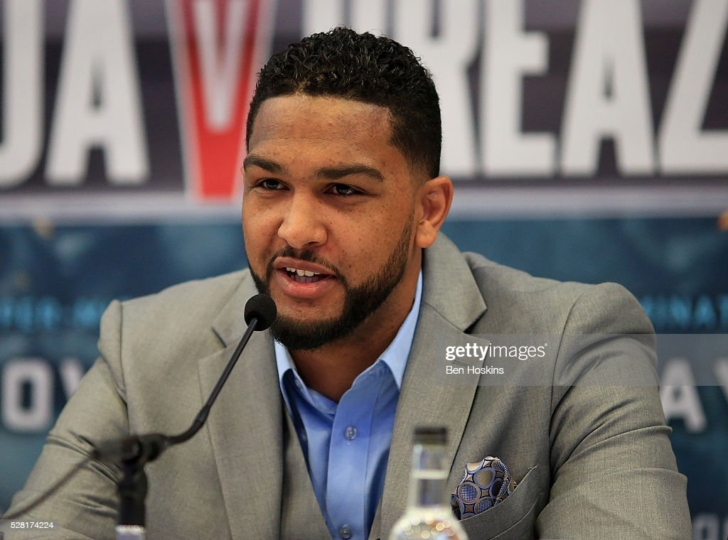 <a gi-track='captionPersonalityLinkClicked' href=/galleries/search?phrase=Dominic+Breazeale&family=editorial&specificpeople=9610091 ng-click='$event.stopPropagation()'>Dominic Breazeale</a> speaks during the Anthony Joshua and <a gi-track='captionPersonalityLinkClicked' href=/galleries/search?phrase=Dominic+Breazeale&family=editorial&specificpeople=9610091 ng-click='$event.stopPropagation()'>Dominic Breazeale</a> Press Conference on May 4, 2016 in London, England.
