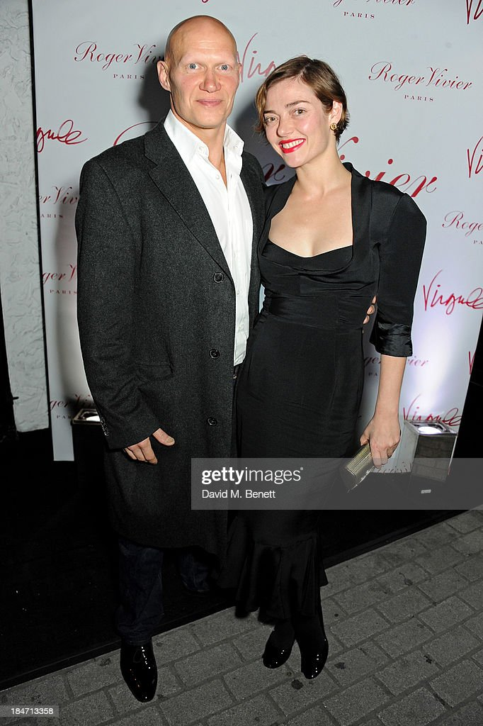 Dominic Burns (L) and <a gi-track='captionPersonalityLinkClicked' href=/galleries/search?phrase=Camilla+Rutherford&family=editorial&specificpeople=212747 ng-click='$event.stopPropagation()'>Camilla Rutherford</a> attend the Roger Vivier Virgule London launch party hosted by Atlanta de Cadenet, Ines de la Fressange and Bruno Frisoni, Creative Director of Roger Vivier, at Le Baron on October 15, 2013 in London, England.
