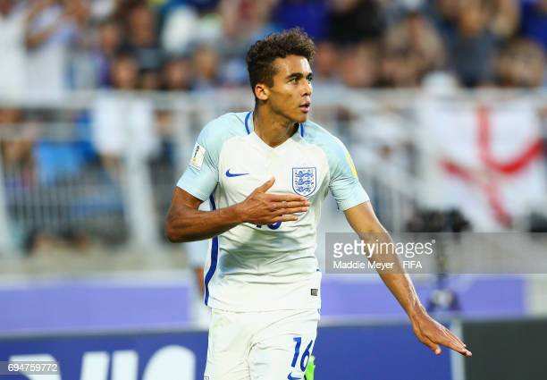 Dominic CalvertLewin of England celebrates as he scores their first goal during the FIFA U20 World Cup Korea Republic 2017 Final between Venezuela...