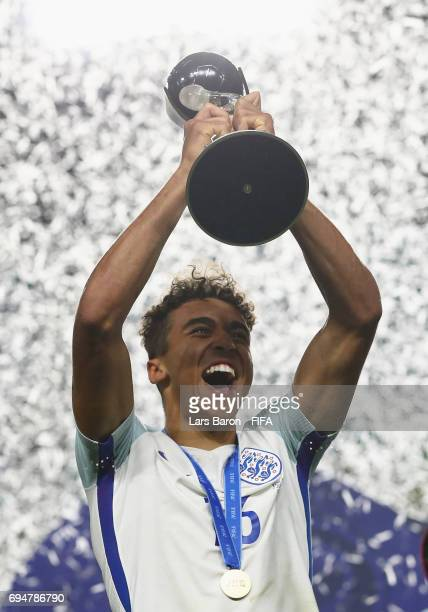 Dominic CalvertLewin of England lifts the trophy in victory after the FIFA U20 World Cup Korea Republic 2017 Final between Venezuela and England at...
