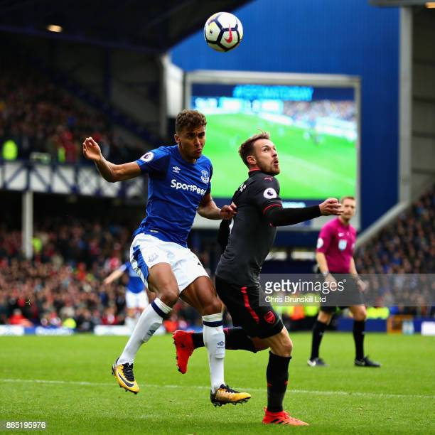 Dominic CalvertLewin of Everton amd Aaron Ramsey of Arsenal in action during the Premier League match between Everton and Arsenal at Goodison Park on...