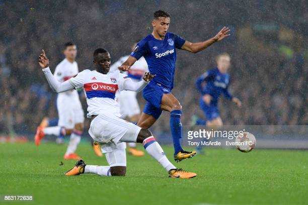 Dominic CalvertLewin of Everton and Mouctar Diakhaby during the UEFA Europa League group E match between Everton and Olympique Lyon at Goodison Park...