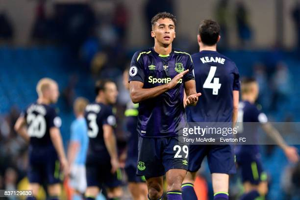 Dominic CalvertLewin of Everton applauds the travelling fans after the Premier League match between Manchester City and Everton at Etihad Stadium on...