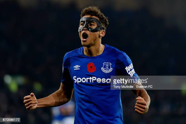 Dominic CalvertLewin of Everton at the end of the Premier League match between Everton and Watford at Goodison Park on November 5 2017 in Liverpool...