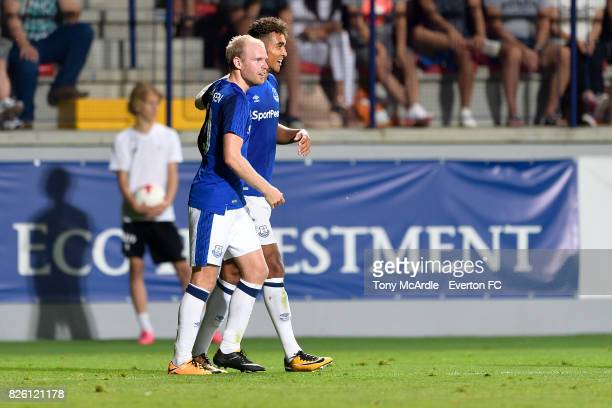 Dominic CalvertLewin of Everton celebrates his goal with Davy Klaassen and Idrissa Gueye during UEFA Europa League Qualifier match between MFK...