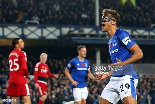 Dominic CalvertLewin of Everton celebrates scoring his sides second goal during the Premier League match between Everton and Watford at Goodison Park...