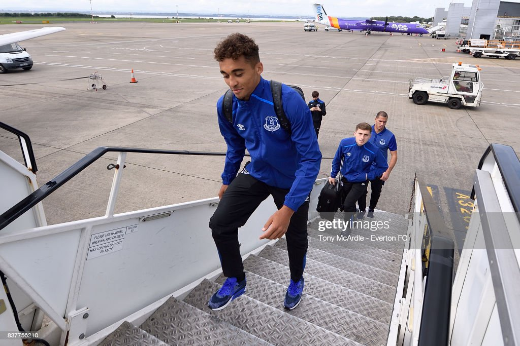 Dominic Calvert-Lewin of Everton climbs the stairs as the Everton team depart for their UEFA Europa League match in Spilt at Liverpool John Lennon Airport on August 23, 2017 in Liverpool, England.