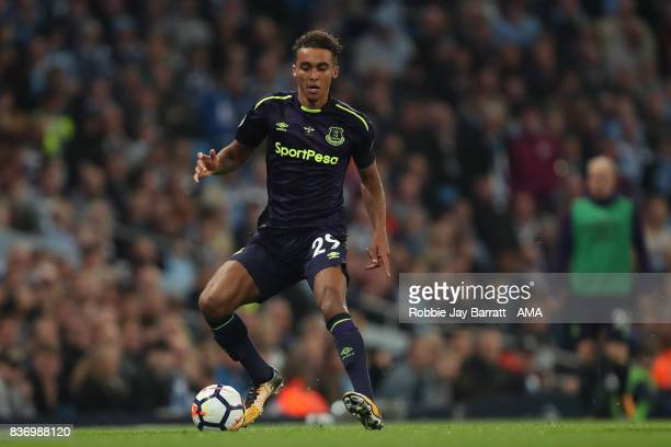 Dominic CalvertLewin of Everton during the Premier League match between Manchester City and Everton at Etihad Stadium on August 21 2017 in Manchester...
