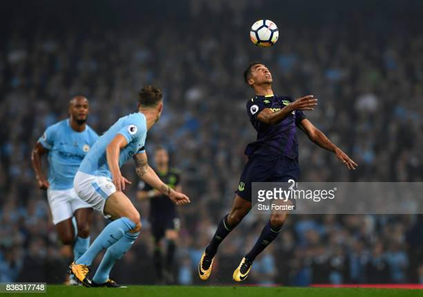Dominic CalvertLewin of Everton in action during the Premier League match between Manchester City and Everton at Etihad Stadium on August 21 2017 in...