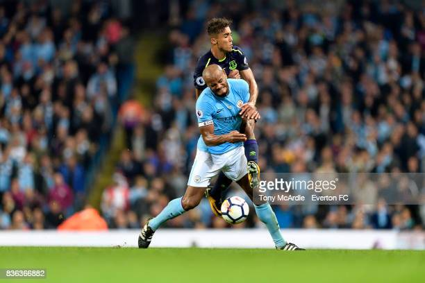 Dominic CalvertLewin of Everton is fouled by Vincent Kompany during the Premier League match between Manchester City and Everton at Etihad Stadium on...